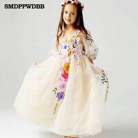 2 12Y Princess Tulle Flower Girl Floor Length Dress Kids Party Pageant Bridesmaid Wedding Dress Lavender