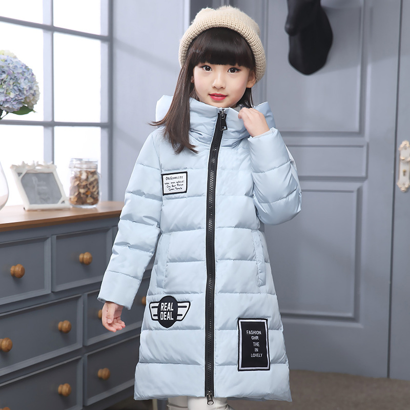 Girl Korean long casual down jacket winter for size 10 11 12 13 14 years child hooded thickening outerwear coat baby boy and girl 2017 new korean thick down jacket winter for size 1 2 3 4 years child long coat kid tide casual outerwear
