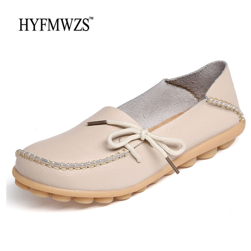HYFMWZS Big Size 34-44 Women Loafers High Quality Fashion 2017 Flat Shoes Women Peas Shoes Soft Breathable Oxford Leather Shoes fashion tassels ornament leopard pattern flat shoes loafers shoes black leopard pair size 38