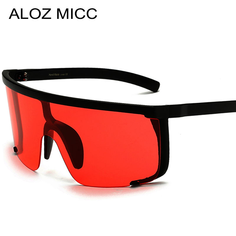 ALOZ MICC 2019 Sexy Women Oversize Mask Shape Shield Visor Sunglasses Women Fashion Men Flat Top Windproof Hood Eyeglasses Q625