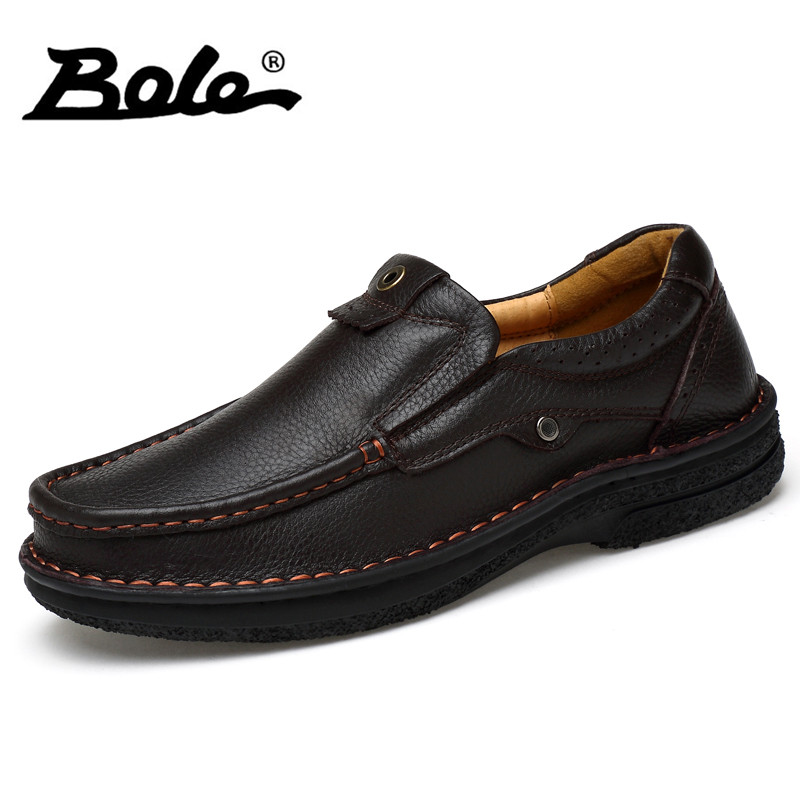 BOLE New Designer Slip on Men Leather Shoes Fashion Breathable Walking Causal Shoes Men Flat Loafers Men Footwear Big Size 38-48 fashion tassels ornament leopard pattern flat shoes loafers shoes black leopard pair size 38