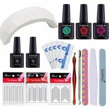 Manicure Set 9W/6W LED Lamp Nail Gel Polish Set Kit Base Gel Top Coat Remover Wraps 3 Colors Polish 10 ml Nail Art Kits Files