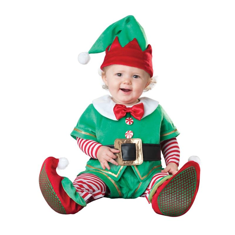 Us 3039 5 Di Scontounisex Pagliaccetti Del Bambino Di Natale Vestito Di Babbo Natale Elf Costume Capretti Che Coprono Linsieme Del Bambino