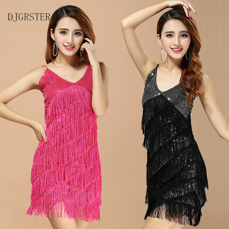 DJGRSTER 2019 New Arrival Latin Sequin Dresses for Girls Performance Women Dance Clothes Salsa Costume Ballroom Competition