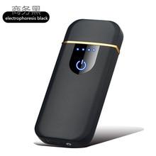 Отпечаток пальца сенсорная USB зарядка Зажигалка анти-ветер творческая личность ультра-тонкий сетевой Красный Мужской электронный прикуриватель