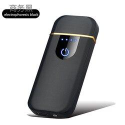 Fingerprint touch zapalniczka ładowana na USB anty-wiatr osobowość twórcza ultra-cienka sieć czerwona męska zapalniczka elektroniczna