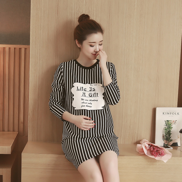 Autumn maternity clothes printed stripe dress long sleeve pencil skirt loose big size maternity dress