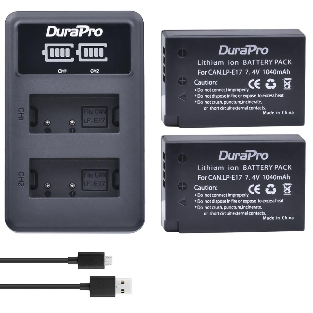 2pc LP-E17 LPE17 LP E17 Rechargeable Battery+ LED Dual Charger for Canon EOS Rebel T6i 750D T6s 760D M3 800D 8000D Kiss X8i