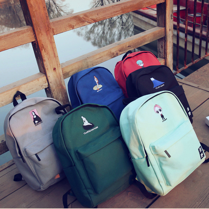 2019 Embroidery Printing Backpack Junior High School Students Shoulder Bag Women Daily Backpack Casual Travel Bag Super LOVELY
