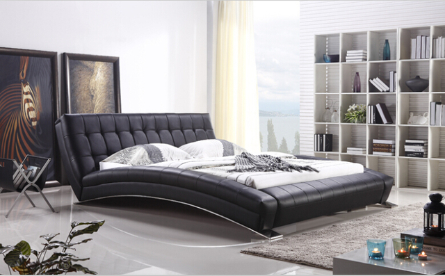 Modern Bedroom Furniture King Bed With Long Sheet Stainless Steel Leg