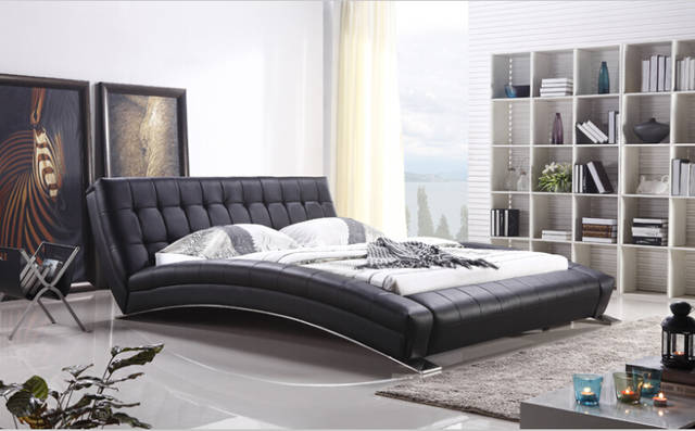 US $630.0 |Modern bedroom furniture King bed furniture Bedroom furniture  with long sheet stainless steel leg-in Beds from Furniture on AliExpress