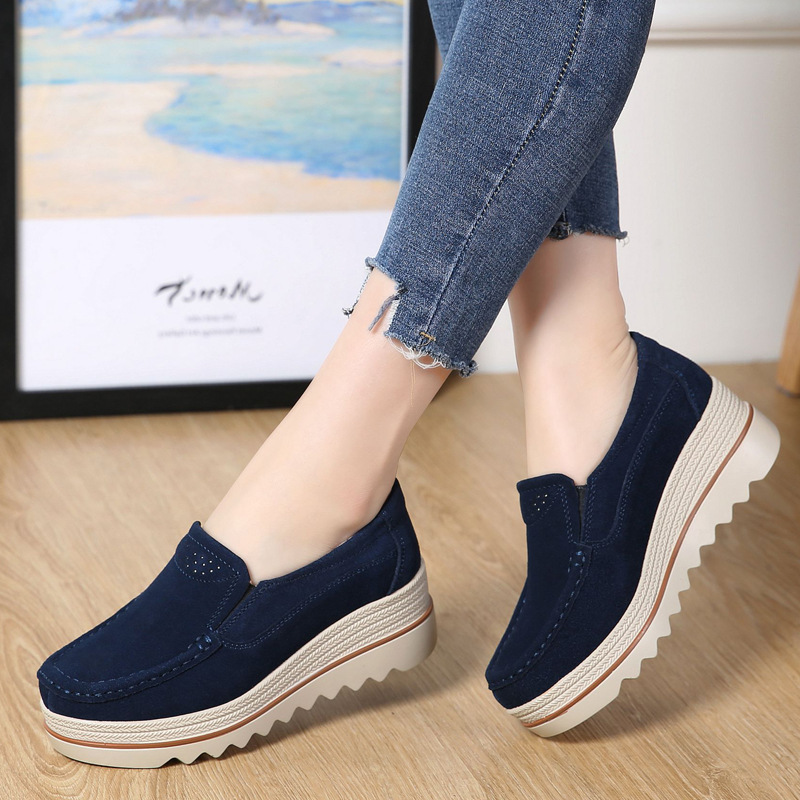 Spring Women Flats Shoes women Platform Sneakers Leather Shoes Suede Casual Shoes Women Slip On Flats Heels Creepers Moccasins