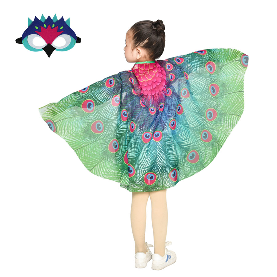 Special Soft Girl Peacock Costume Wing Mask Fairy School Dance Costumes Garden Fairy Cosplay Animal Costume Girl Toys Beautiful And Charming Home