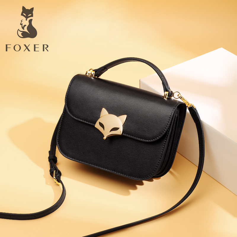 FOXER Brand Women Leather Crossbody Bag Shoulder Bags For Female Chain Messenger Bag For Girl New Fashion Women's Small Bags foxer brand women s bag fashion chain embossing cow leather crossbody bag messenger bag for women female shoulder bags