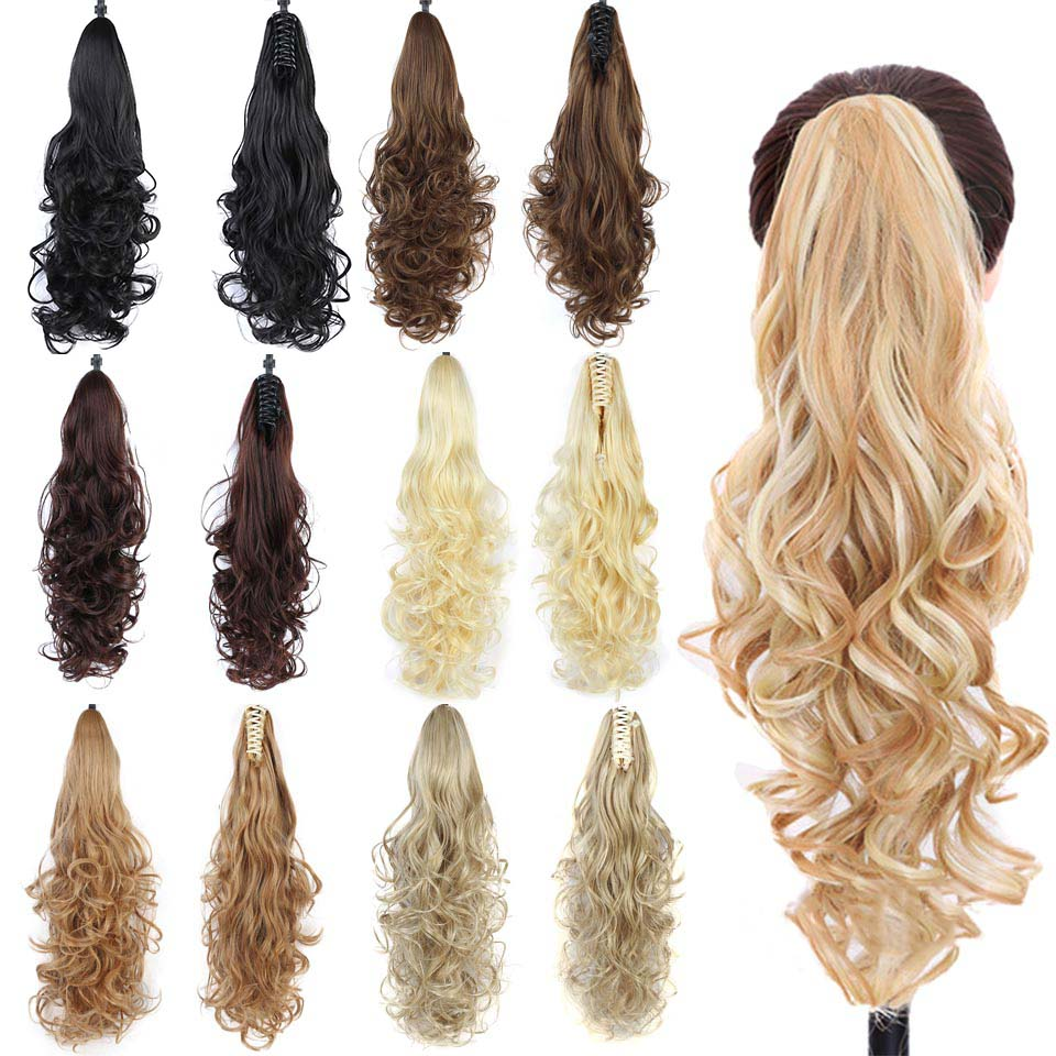 JINKAILI Claw On Ponytail Synthetic Clip In Hair Extensions Long Blonde Black Curly Pony Tail Hairpiece For Women Heat Resistant