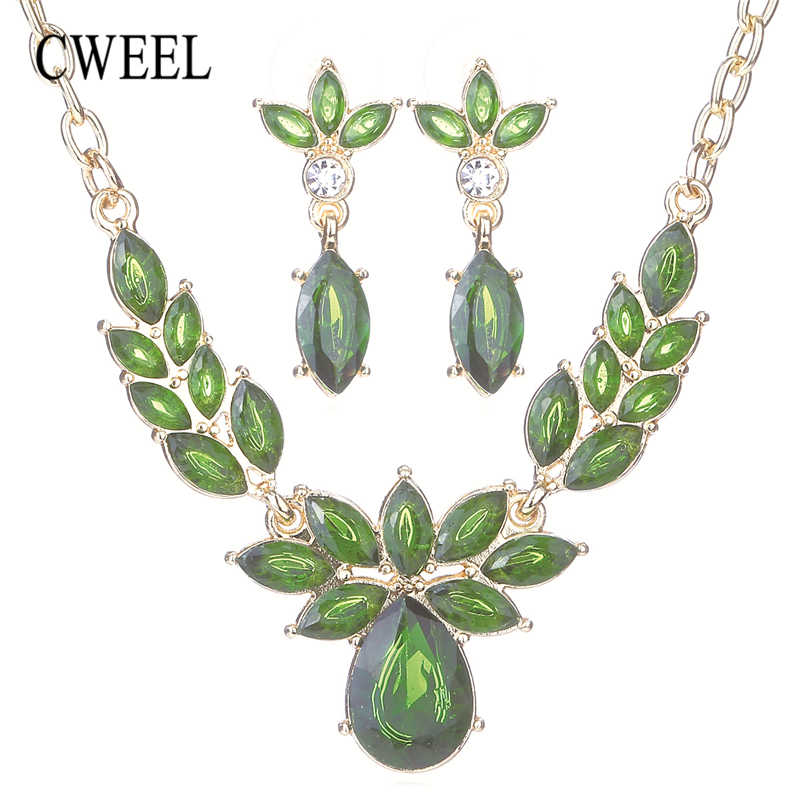 CWEEL Flower Wedding African Bead Jewelry Set Jewelry Sets for Women Fashion Gold-color Dubai Rhinestone Necklace Earrings