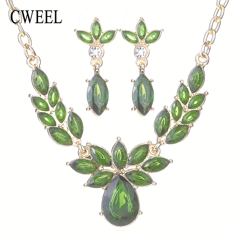 CWEEL Flower Wedding African Bead Jewelry Set Jewelry