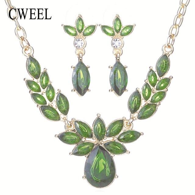 CWEEL פרח חתונה אפריקאית חרוז תכשיטי סט תכשיטי סטים לנשים אופנה זהב-צבע דובאי ריינסטון שרשרת עגילים