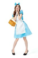 2019 Fantasia Women Maid Costume Cosplay Halloween Colonial Costume Blue Dress White Apron Full Set For Female Party Fancy Dress