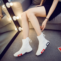 TremoR shoes 2018 Autumn new women ankle sock boots flat mesh white black Solid Casual fashion rubber boots