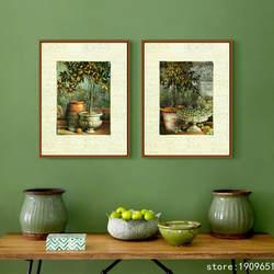 Без рамки пастырской натюрморт зеленые растения Печать на холсте напечатанная картина маслом на хлопок дома стены художественные