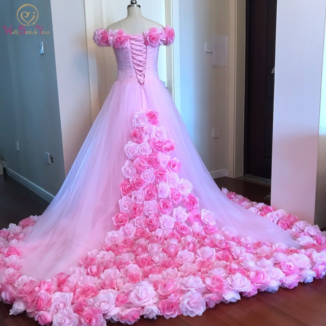 50ea6c70af438 US $185.18 25% OFF|Walk Beside You Pink Quinceanera Dresses High Quality  Floral Court Train Off Shoulder Tulle Prom Gowns vestidos de 15 anos-in ...