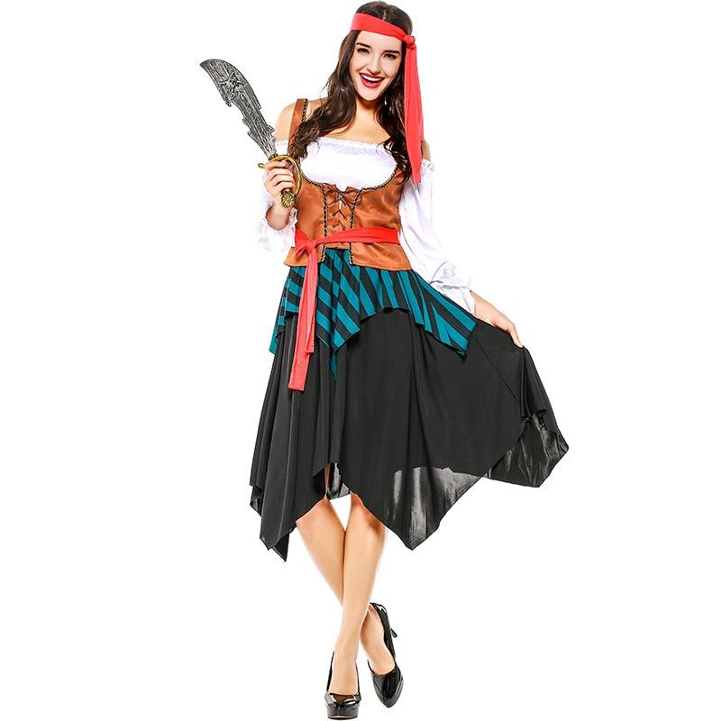 Mujeres Capitán Piratas Caribbean Adult Cosplay Disfraz Carnaval - Disfraces