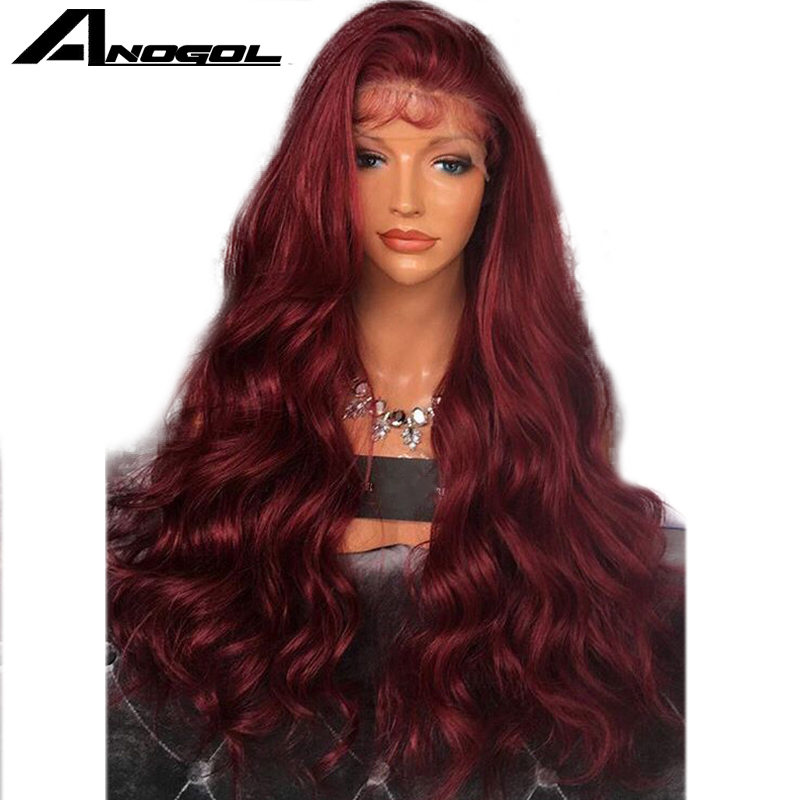 Anogol High Temperature Fiber Burgundy Wine Red Per Plucked Long Body Wave Synthetic Lace Front Wig