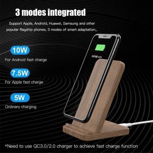 Image 3 - شاحن لاسلكي سريع Qi بقوة 10 وات من KEYSION لهاتف سامسونج S20 S10 S9 حامل خشبي للشحن اللاسلكي لهاتف آيفون 12 11 Pro XR XS Max 8 Plus