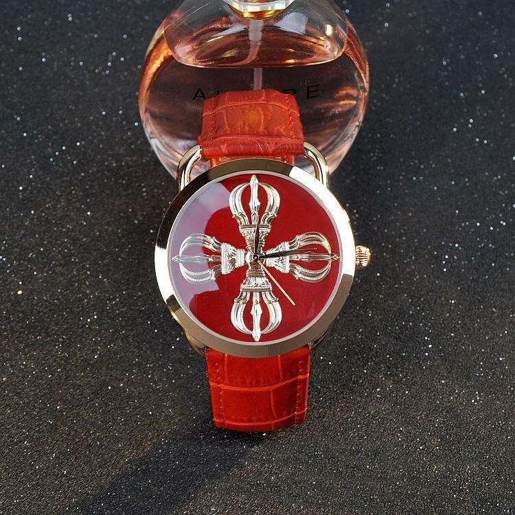Moda guou marca Relojes de mujer Vajra budista tallas patrón negro Relojes de cuarzo Cuero auténtico muñeca neutral Relojes