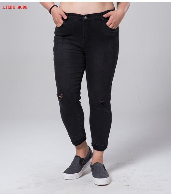 6856b831ab8 Женские стрейчевое большого размера потрепанные черные джинсы Femme большие  Размеры обтягивающие рваные джинсы женские летние тонкие