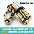 2* Car 1156 P21W Ba15s 30SMD 5050 LED Amber/Yellow color Turn Signal Light Bulb Light Sourcing canbus error free