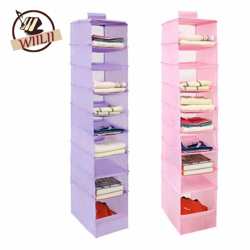 1PCS Oxford Hanging Box Underwear Sorting Clothing Shoe Storage Mails Door Wall Closet Organizer Closet 9 Cell Organizadores Bag