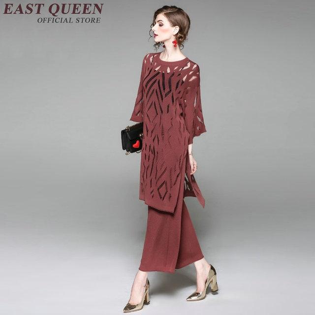 Elegant Las Pantsuit Women Pant Suit Hollow Out Long Tops Wide Leg Business