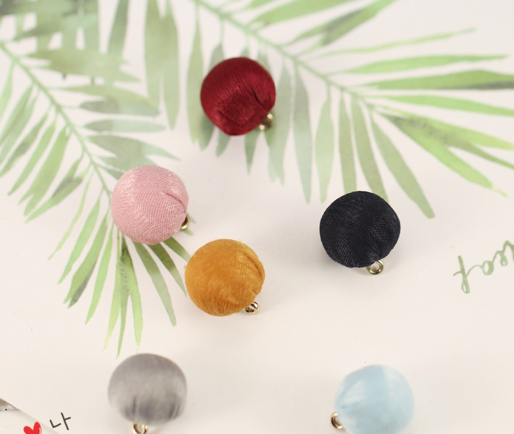 10pcslot 15*17mm Fabric Ball Charm Colorful Cloth Earring Ball Pendant Fit Women Handmade Earring Jewelry DIY Making