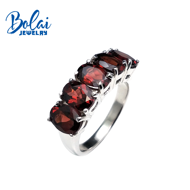 Bolaibijoux, classique vintage naturel rouge grenat pierres précieuses simples anneaux 925 en argent sterling bijoux fins pour dame meilleur cadeau