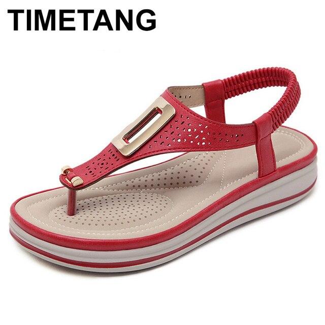 TIMETANGSummer แพลตฟอร์ม Flip Flops ผู้หญิงชายหาดรองเท้าแตะหนังนุ่มสบายรองเท้าส้นสูงรองเท้าโลหะขนาดใหญ่