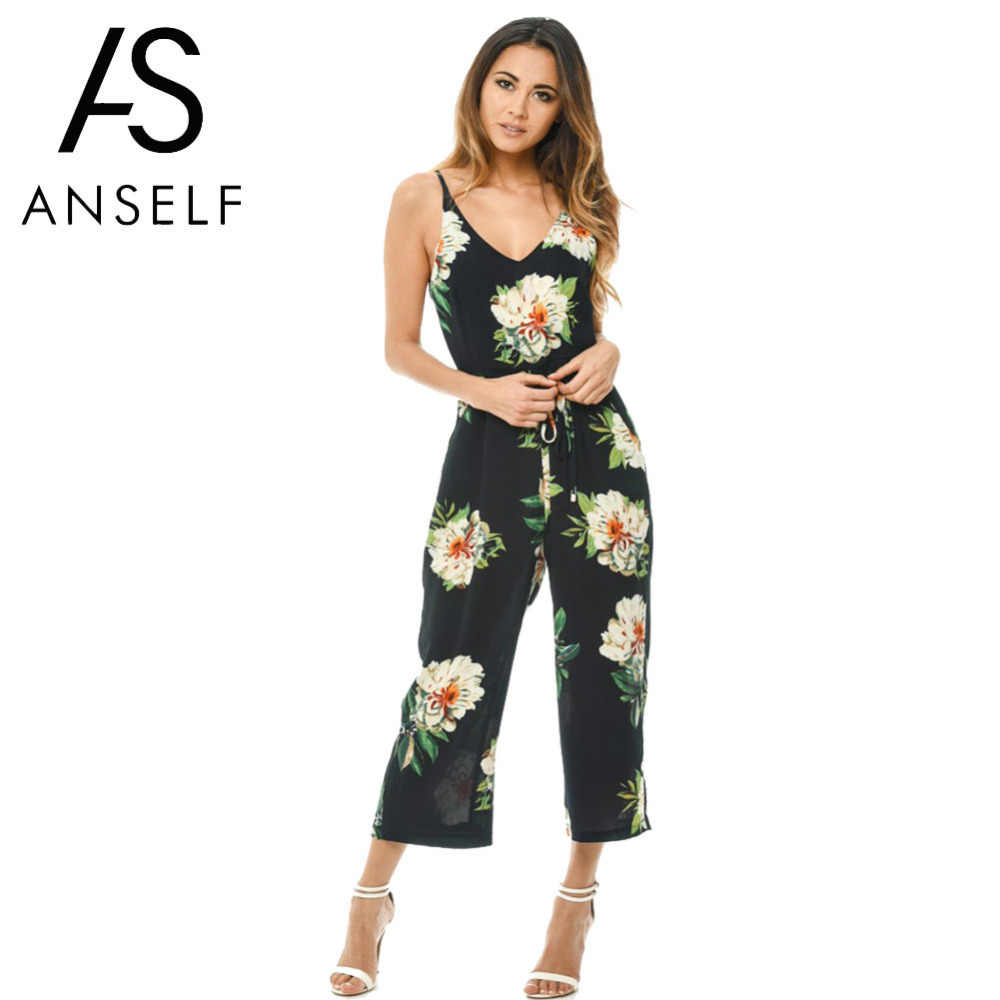 2a8eb4e0e3b Anself 2019 Fashion Floral Print Spring Rompers Womens Jumpsuit Sexy V Neck  Bodysuit Female Casual Long