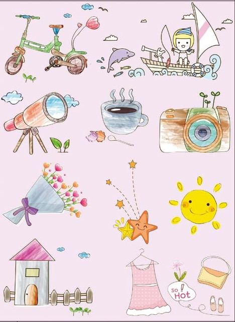 6 piece/lot 14*19CM ZAKKA Heat Transfer Film Sticker, Heat Transfer Printing, Iron-on Fabric Sticker DROP SHIPPING