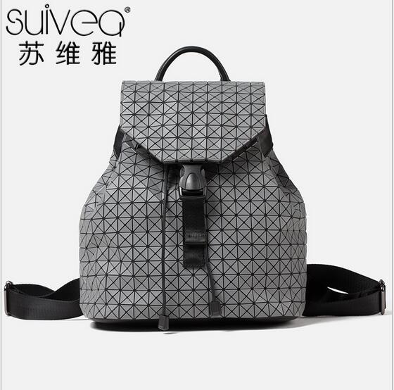 ФОТО Women backpack feminine geometric patchwork sequin plaid backpacks for teenage girls female bagpack Issey miyake 2016 mochila
