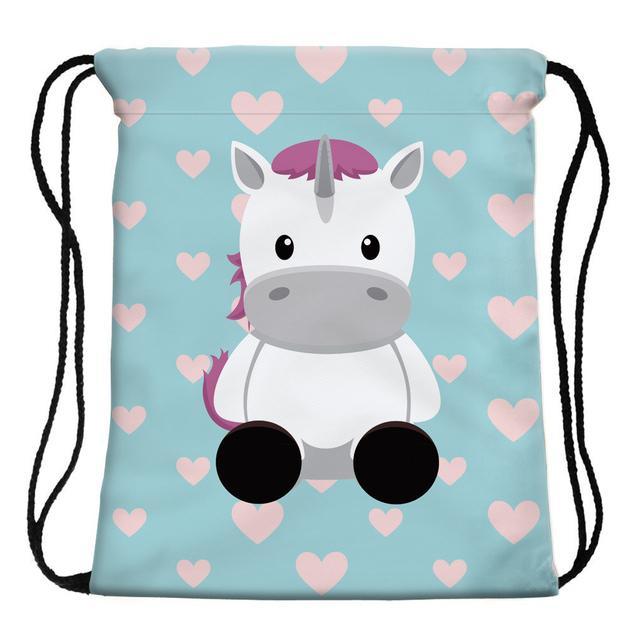 Women's Unicorn Printed Drawstring Bag