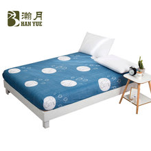 HANYUE Simple Printing Bed Mattress Cover Protector Pad Fitted Sheet Separated Aloe Cotton Bedding Elastic Home Textile