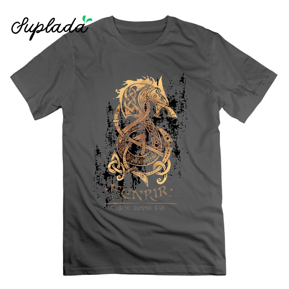Suplada Viking The Nordic Monster Wolf Odin Valhalla T Shirt Short Sleeves Tees T-Shirts 100% Cotton Vintage Tops for Men O Neck