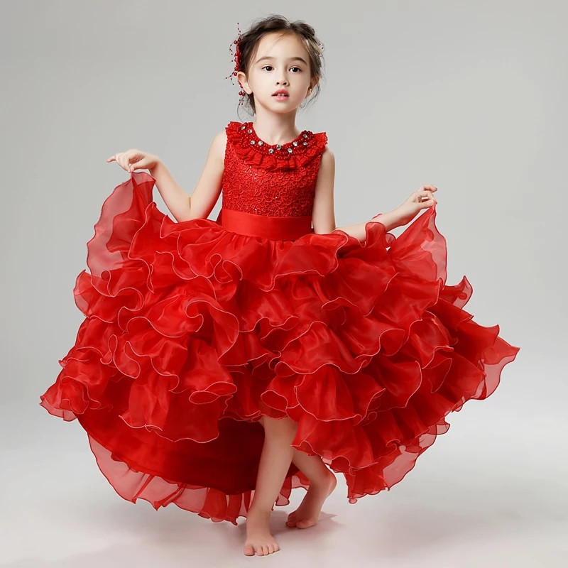 2018 Summer New Girls Kids Elegant Bright Red Color Birthday Wedding Party Princess Lace Dress Model Show Mesh Layers Tail Dress new high quality children girls blue princess lace party dress wedding birthday dress with layers mesh tail kids costume dress