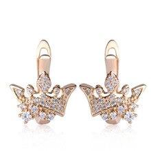Blucome corona pequeño Pendientes de broche para las mujeres Niñas del oro Boucle d'oreille bloqueo inglés cobre pendiente partido orejas joyeria