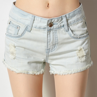 Aliexpress.com : Buy Summer frill hem denim shorts for women light ...