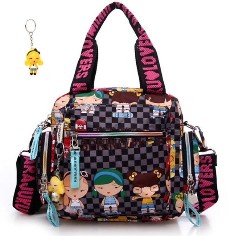 Новый + Harajuku куклы цепочка для ключей водонепроницаемый нейлон Сумочка женская сумка одно плечо мультфильм bolsos сумки Креста тела Сумки мать...