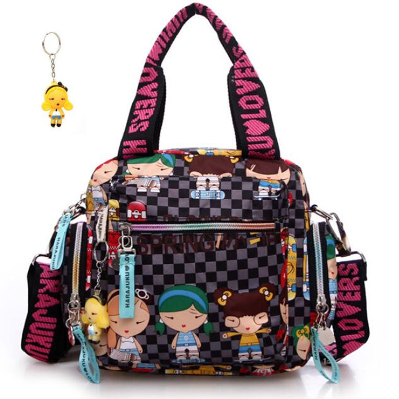 New+Harajuku Doll Key Chain Waterproof Nylon Handbag Ladies Bag One Shoulder Cartoon Bolsos Cross-body Bags Handbags Mother Bag