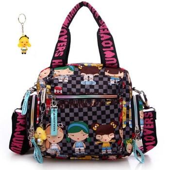 цены New+Harajuku Doll key chain waterproof nylon handbag ladies bag one shoulder cartoon bolsos cross-body bags Handbags mother bag