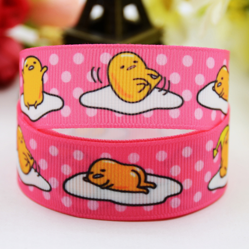 7/8 (22mm) Ruban satin Gudetama tape cartoon Printed Grosgrain Ribbon DIY sewing supplies Bow hair accessories X-00880 10Y